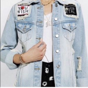 NWT UNIF Fornever Distressed Denim Jean Jacket